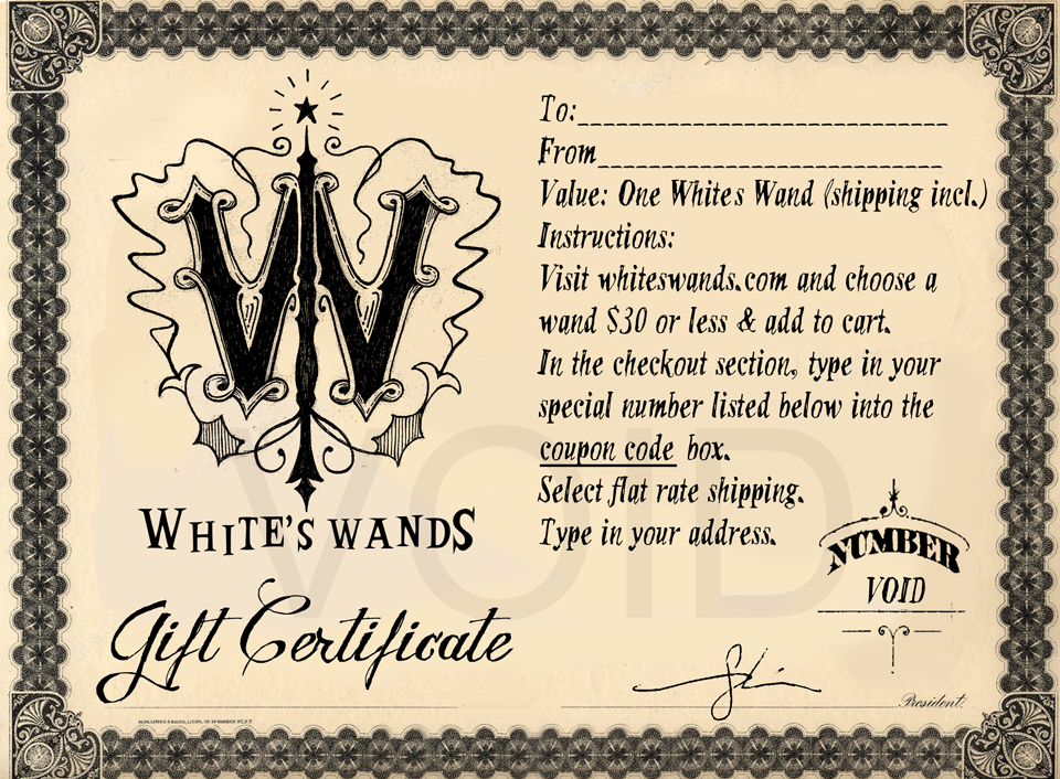 white s wands gift certificate for 1 wand white s wands